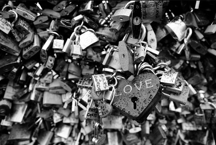 padlocks lovers love bridges Paris France