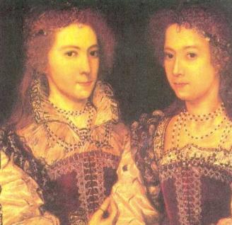 Dorothy Devereux & sister Penelope (children of Walter Devereux & Lettice Knollys)